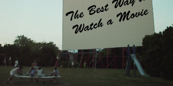 Kids play at the drive in